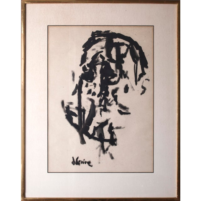 Jack Levine Cubist Portrait Ink on Paper Painting Signed by Jack Levine For Sale - Image 4 of 4