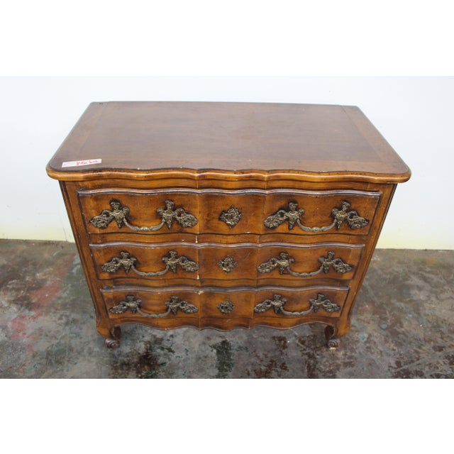Very rare early 18th Century Régence period Lyonnaise commode galbée (curved). Made of solid walnut, every detail of this...