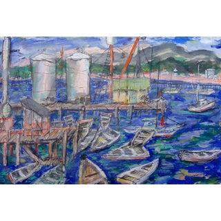 Modernist Seaside Marina Watercolor For Sale