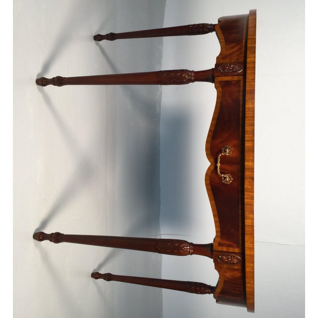 Wood 1990s English Traditional Maitland Smith Demi-Lune Console Tables - a Pair For Sale - Image 7 of 13