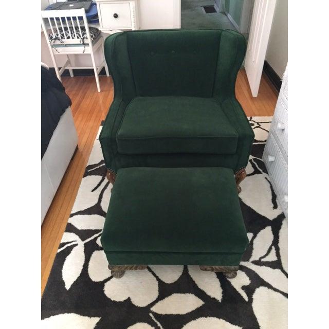 Deco Style Emerald Green Velvet & Ottoman - Image 3 of 6