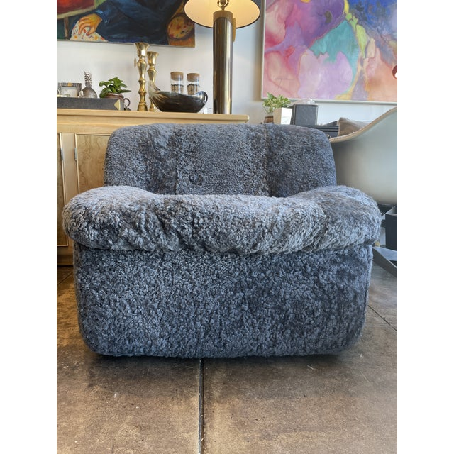 2020s Reupholstered Curly Shearling Swivel Chair - 2 Available For Sale - Image 5 of 10