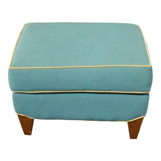 Turquoise Ottoman Bench Stool W Yellow Trim For Sale