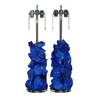 Rock Candy Glass Lamps in Periwinkle For Sale