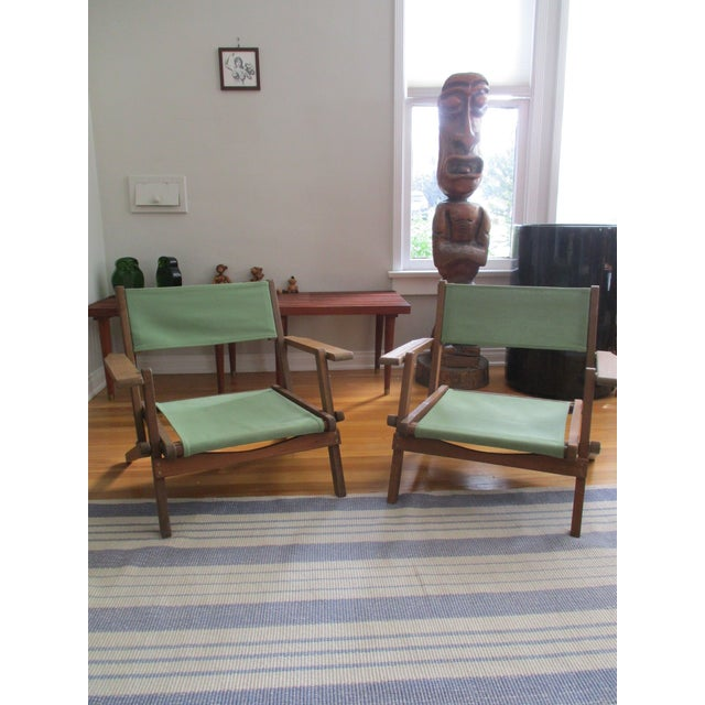 Vintage Teak Folding Canvas Chairs - A Pair For Sale - Image 10 of 10