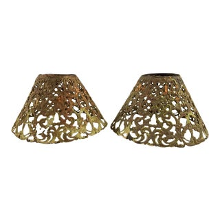 Brass Filigree Small Lamp Shades- a Pair For Sale