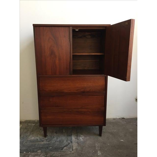 Mid Century Walnut Wood Tallboy Dresser - Image 8 of 11