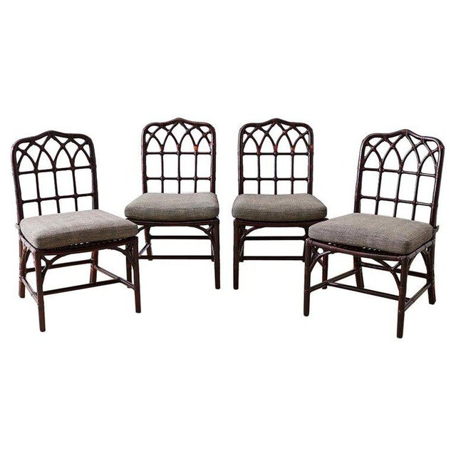 Set of Four McGuire Lacquered Bamboo Dining Chairs For Sale - Image 13 of 13