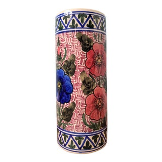 20th Century Floral Blue and Pink Ceramic Umbrella Stand For Sale