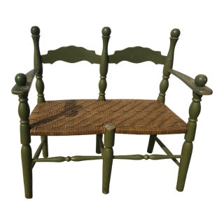 Painted Oak Love Bench With Woven Seat For Sale