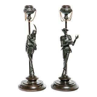 19th Century Italian Bronze Candlesticks - A Pair For Sale