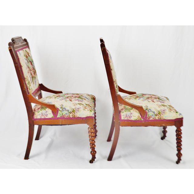 Textile Victorian Eastlake Side Chairs - a Pair For Sale - Image 7 of 13