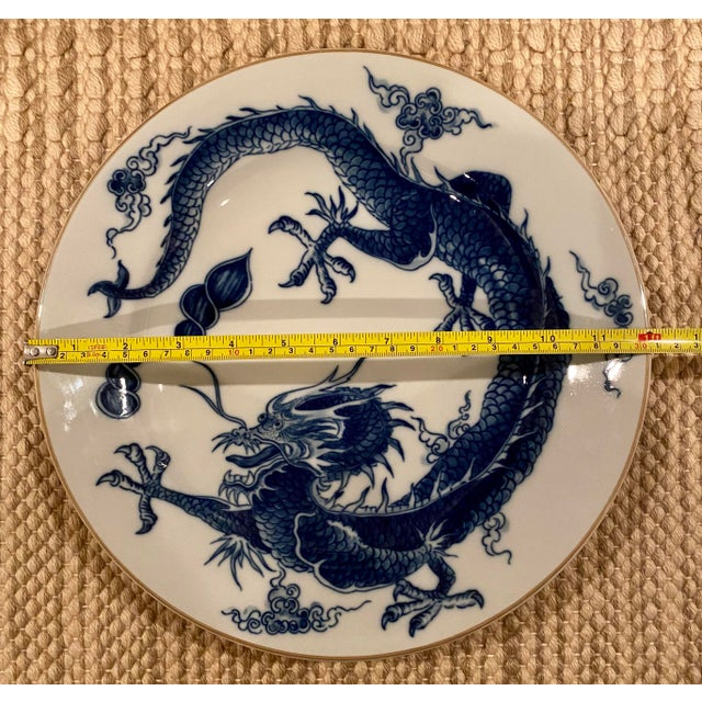 Vintage Mottahedeh Blue Dragon Round Platter/Chop Plate For Sale In Dallas - Image 6 of 7
