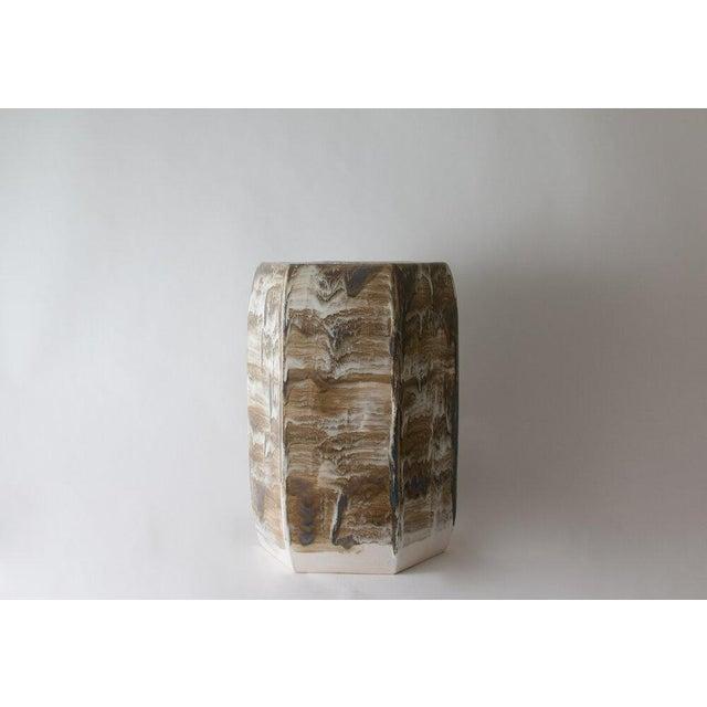 Paul Schneider Paul Schneider Ceramic Hexagonal Stool in Drip Brushed #6188 Glaze For Sale - Image 4 of 4
