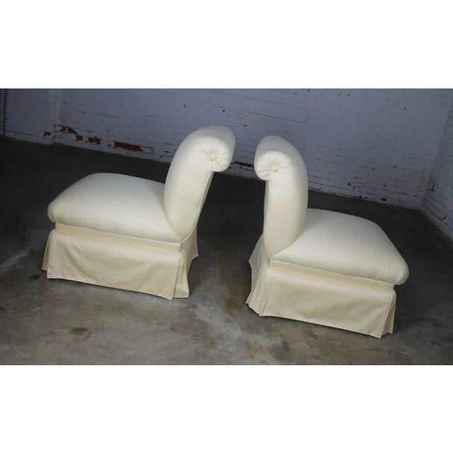 Donghia White Slipper Chairs - A Pair - Image 3 of 10
