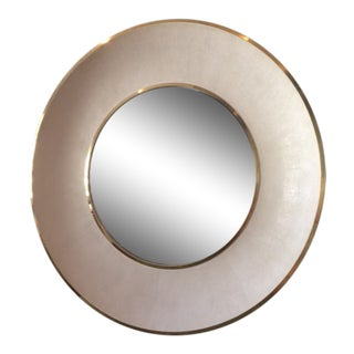 Large Modern Round Shagreen-Style Mirror For Sale