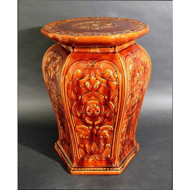 Augustus Welby Pugin Minton Arts & Crafts Majolica Garden Seat For Sale - Image 5 of 6