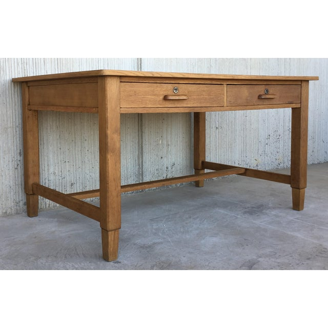 Mid Century Modern Pine Desk With Two Drawers For Sale - Image 4 of 13