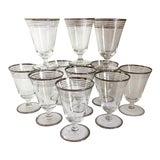 Image of Vintage Multi Platinum Rim Crystal Cocktail Glasses - Set of 11 For Sale