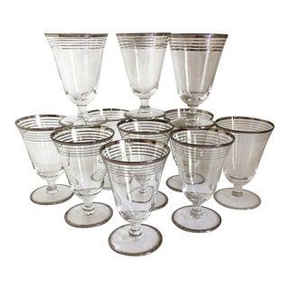 Vintage Multi Platinum Rim Crystal Cocktail Glasses - Set of 11