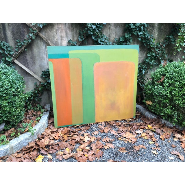 Large Vintage Mid Century Abstract Oil Painting on Canvas in the Style of Josef Albee's For Sale In New York - Image 6 of 9