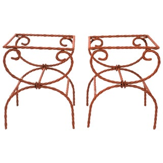 Pair of Iron Rope Side Tables/Ottomans For Sale