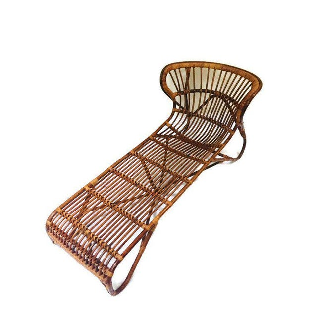 Franco Albini Mid Century Modern Franco Albini Chaise Lounge Sculpted Bamboo Daybed For Sale - Image 4 of 12