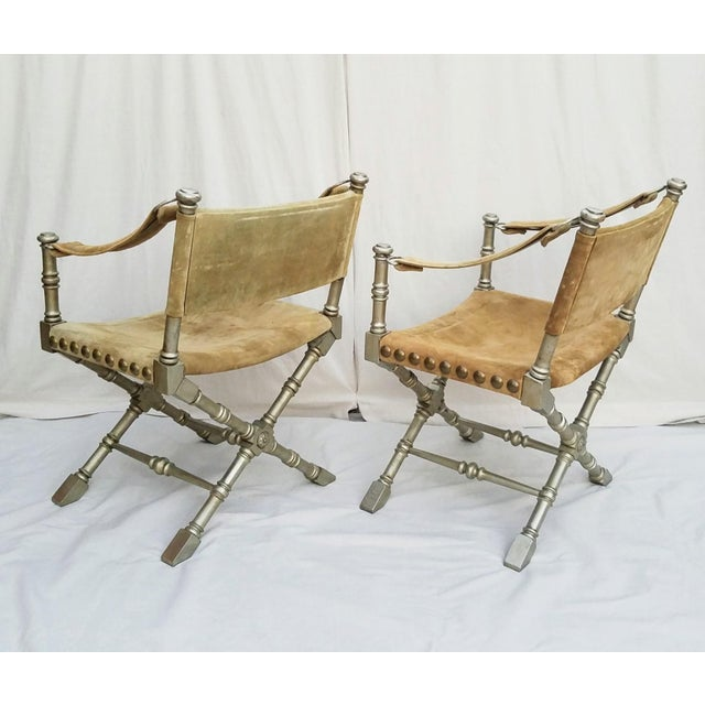 Campaign 1950's Vintage Drexel Burnished Brass & Faux Bamboo and Suede Safari Style Chairs- a Pair For Sale - Image 3 of 9