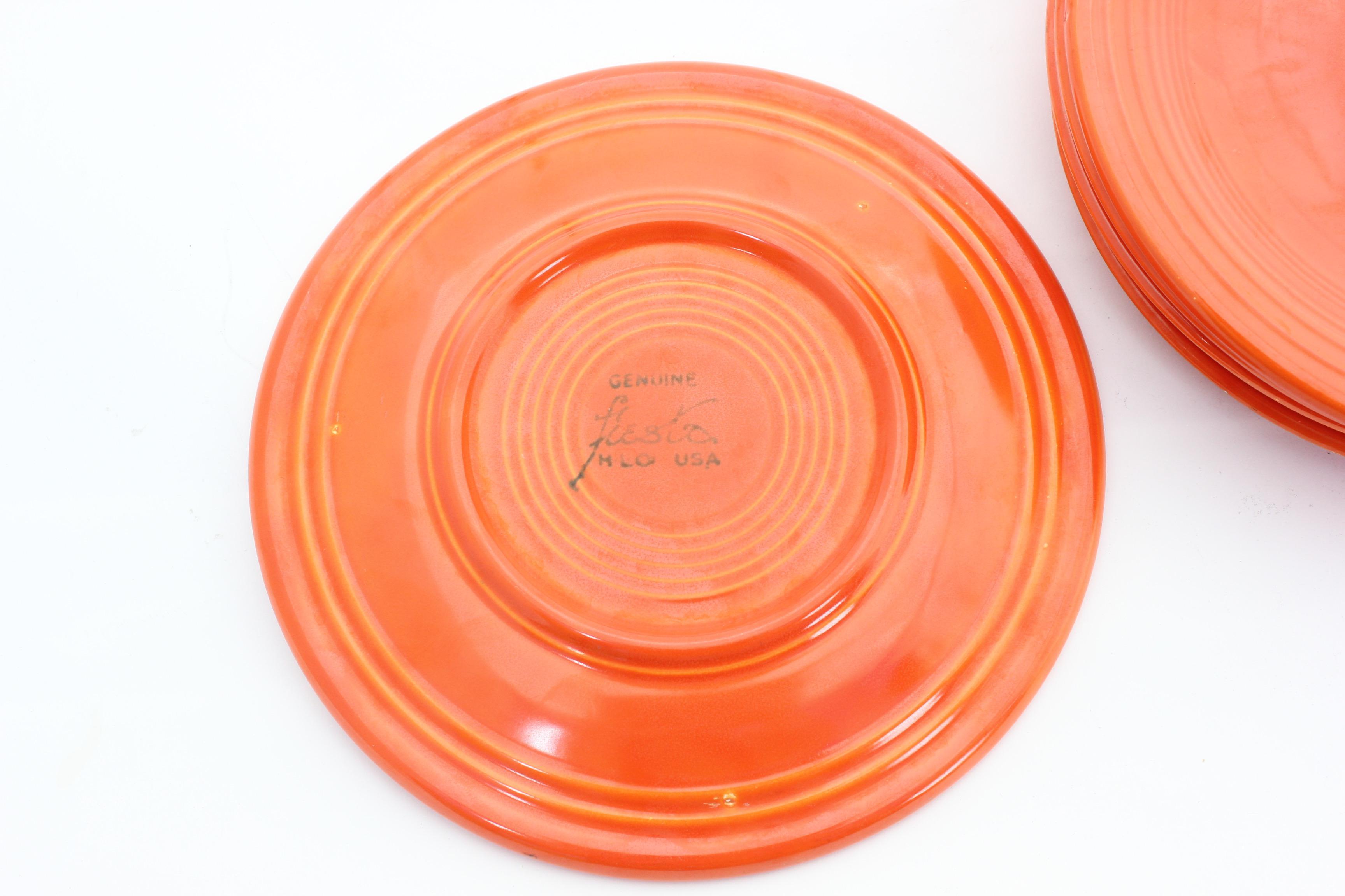 Vintage  Radioactive  Orange Fiesta Ware Plates - Set of 5 - Image ...  sc 1 st  Chairish & Vintage