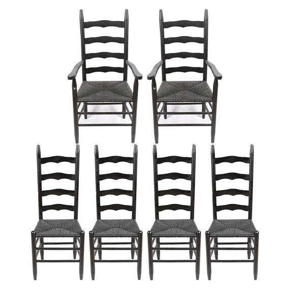 Black Vintage Country Farmhouse Rush Seat Ladder Back Black Dining Chairs - Set of 6 For Sale - Image 8 of 8