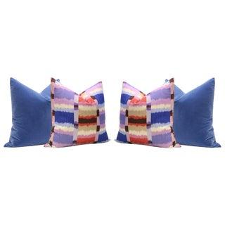 Calypso Madras Linen Print and Calypso Blue Velvet Panel Pillows - Set of 4 For Sale