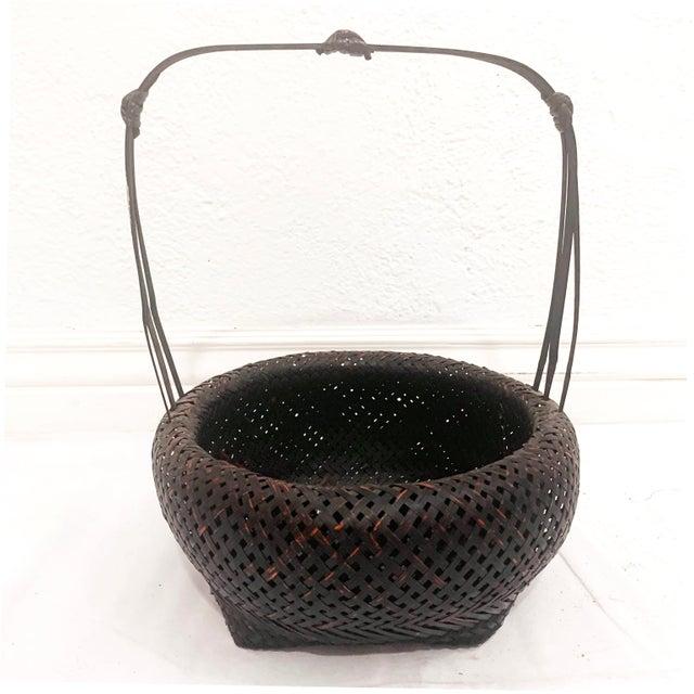 Antique Japanese Woven Ikebana Basket For Sale - Image 4 of 12