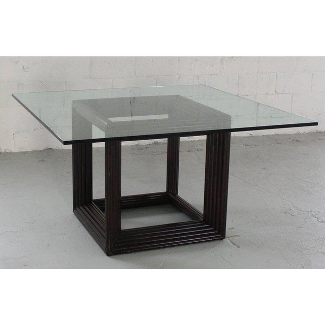 Large Square Thick Glass Top Rattan Cube Base Dining Conference Table For Sale - Image 13 of 13
