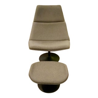 Contemporary Gray Wool Lounge Chair & Ottoman Set For Sale