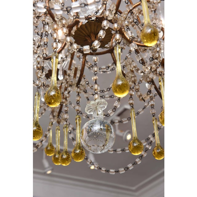 Italian Vintage Venetian Glass and Gilt Metal Chandelier For Sale - Image 3 of 10