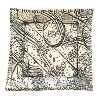 Abstract Pattern Studio Pottery Ceramic Square Tray Dish For Sale