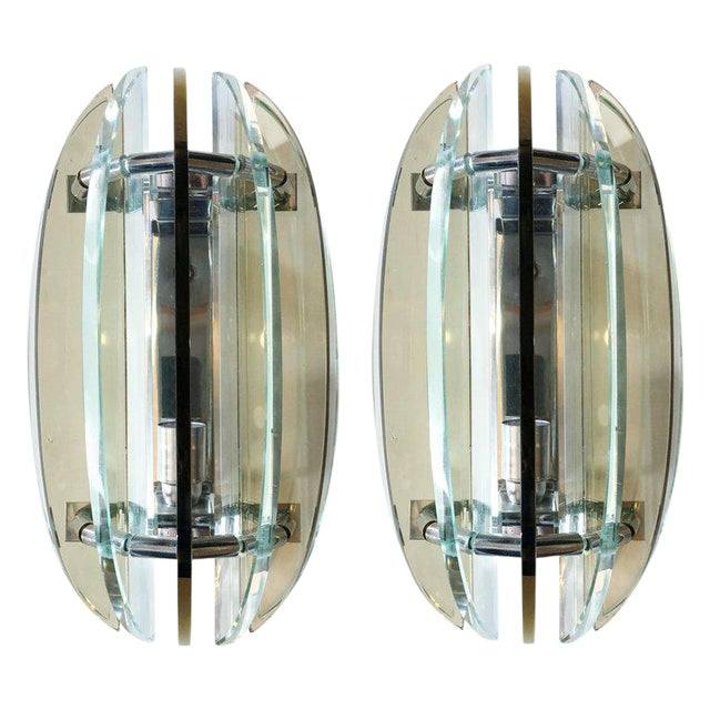 Italian Beveled Sconces by Veca - a Pair For Sale