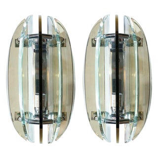Pair of Beveled Sconces by Veca For Sale
