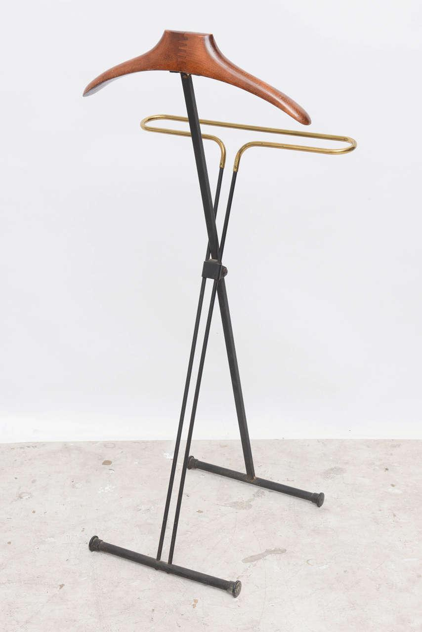 Mid Century Modern French Wood And Brass Menu0027s Valet Stand, Coat Stand    Image