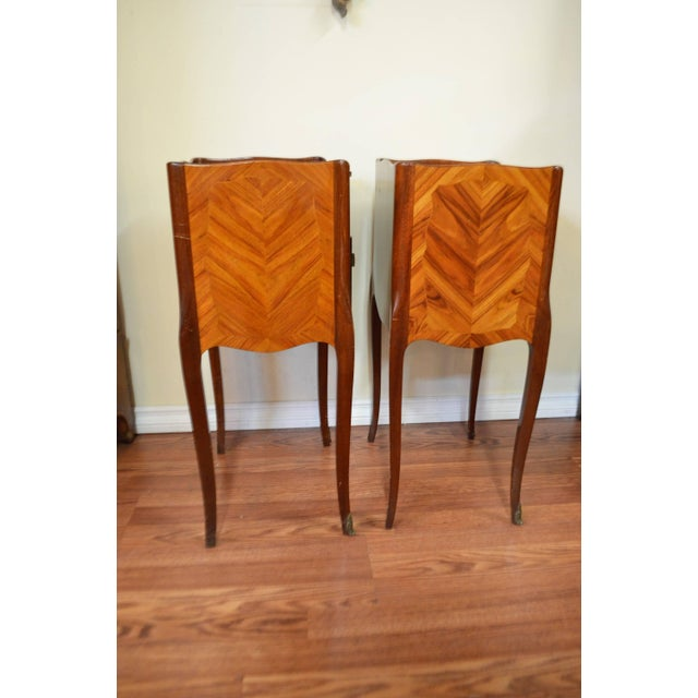1940s Transitional Inlay Wood Side Tables - A Pair For Sale - Image 5 of 10