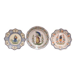 Three French Antique Hand-Painted Faience Plates From Henriot Quimper For Sale