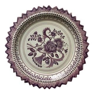 "Vintage 13""Hand-Painted Faience Plate-Carvalhinho Porto"