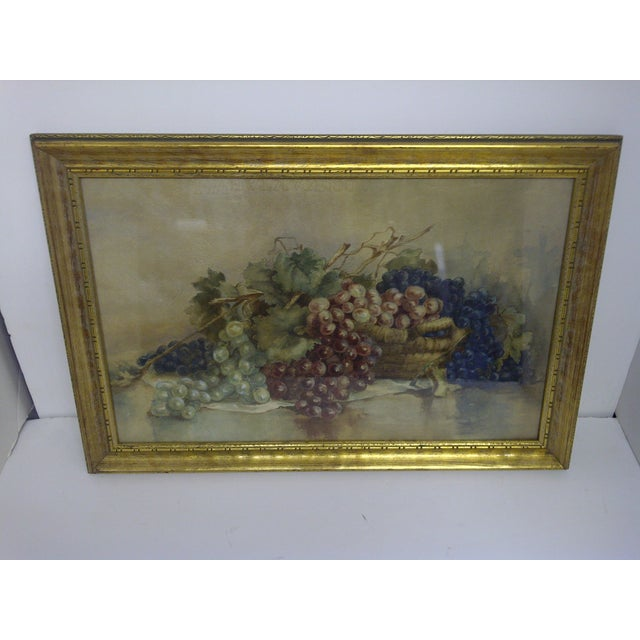 """""""GRAPES,"""" circa 1900 by an unknown artist. Original Victorian painting. Gold toned frame with glass front. Very good..."""