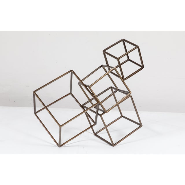 Metal Cubist Brass Sculpture For Sale - Image 7 of 8