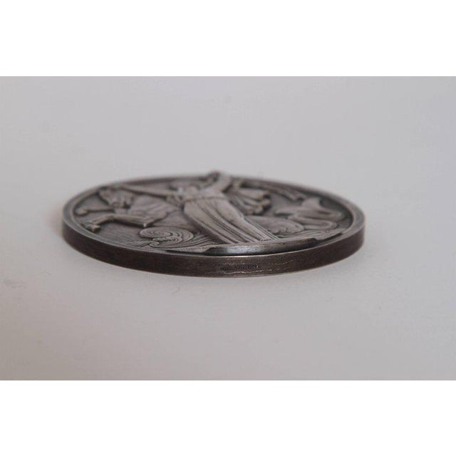 Art Deco French Normandie Medallion by Jean Vernon Silvered Bronze For Sale - Image 10 of 11