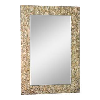 1970s Capiz Framed Beveled Wall Mirror For Sale
