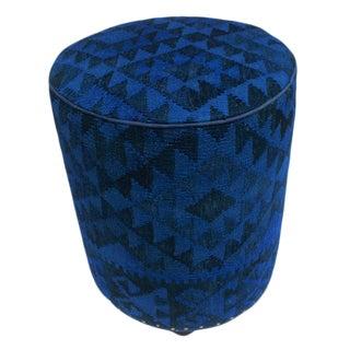 Arshs Deandrea Blue/Drk. Blue Kilim Upholstered Handmade Ottoman For Sale