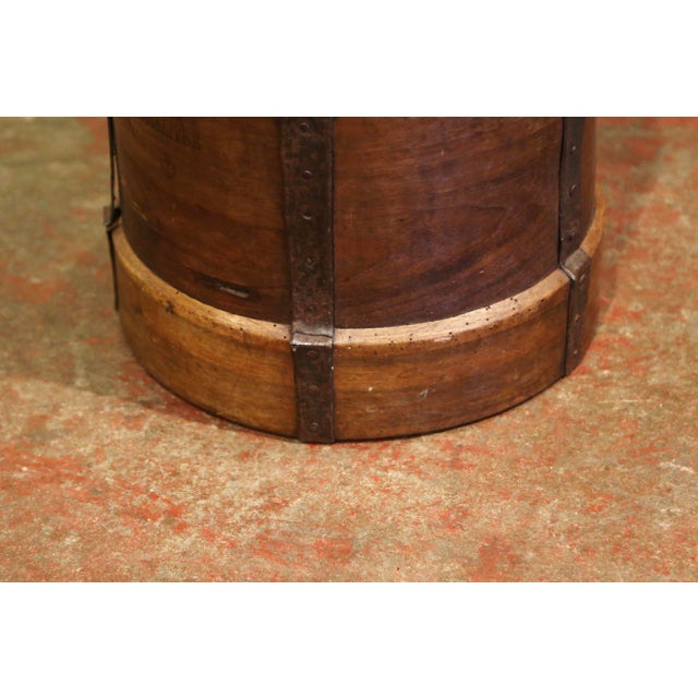 Late 19th Century 19th Century French Walnut and Iron Grain Measure Bucket or Waste Basket For Sale - Image 5 of 10