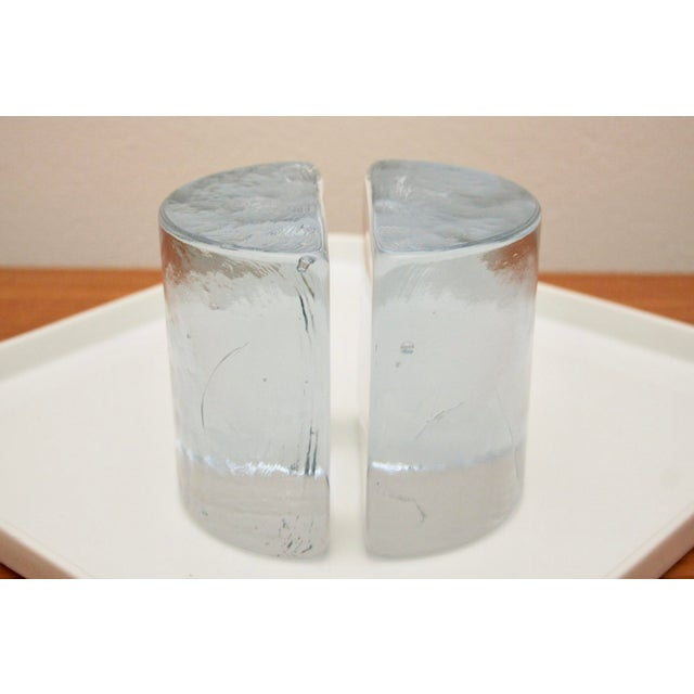 Blenko Clear Half Moon Bookends, a Pair For Sale - Image 10 of 13