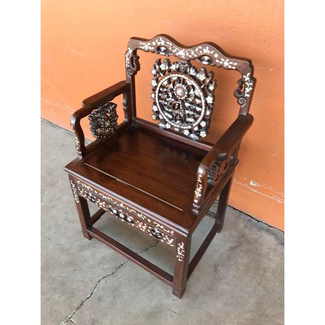 Regal Mother of Pearl Inlaid Asian Side Chair For Sale - Image 5 of 8